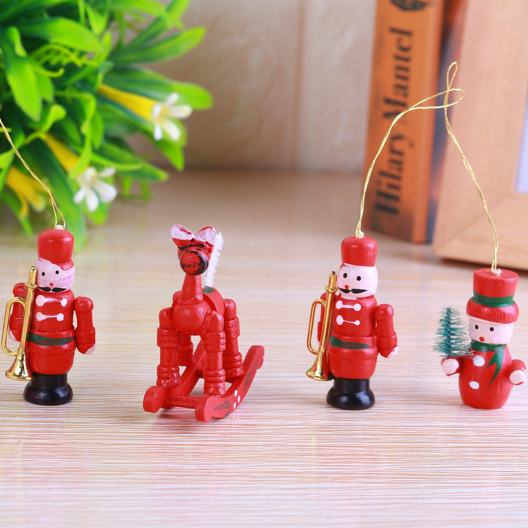 Miniature Red Wooden Christmas Ornaments Handmade Sets Christmas Tree Small Pendant Crafts Party Decorations Gift For Kids Snowman Angels Wooden House Doll