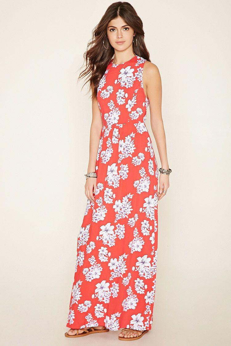 A sleeveless woven maxi dress featuring an allover floral print, a ...