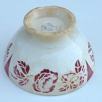 Bol en faïence de Digoin et Sarreguemines, décor fleur rouge. Old Bowl.