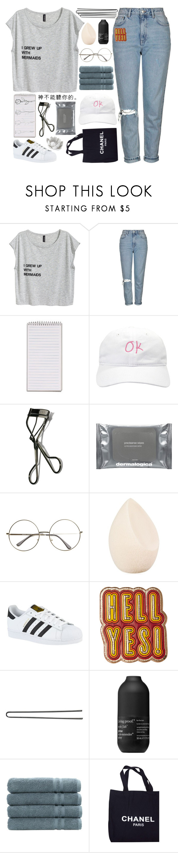 """""""The words you know are out of ink"""" by yonderlyx ❤ liked on Polyvore featuring Topshop, Bobbi Brown Cosmetics, Dermalogica, Christian Dior, adidas, Anya Hindmarch, Hershesons, Living Proof, Linum Home Textiles and Chanel"""