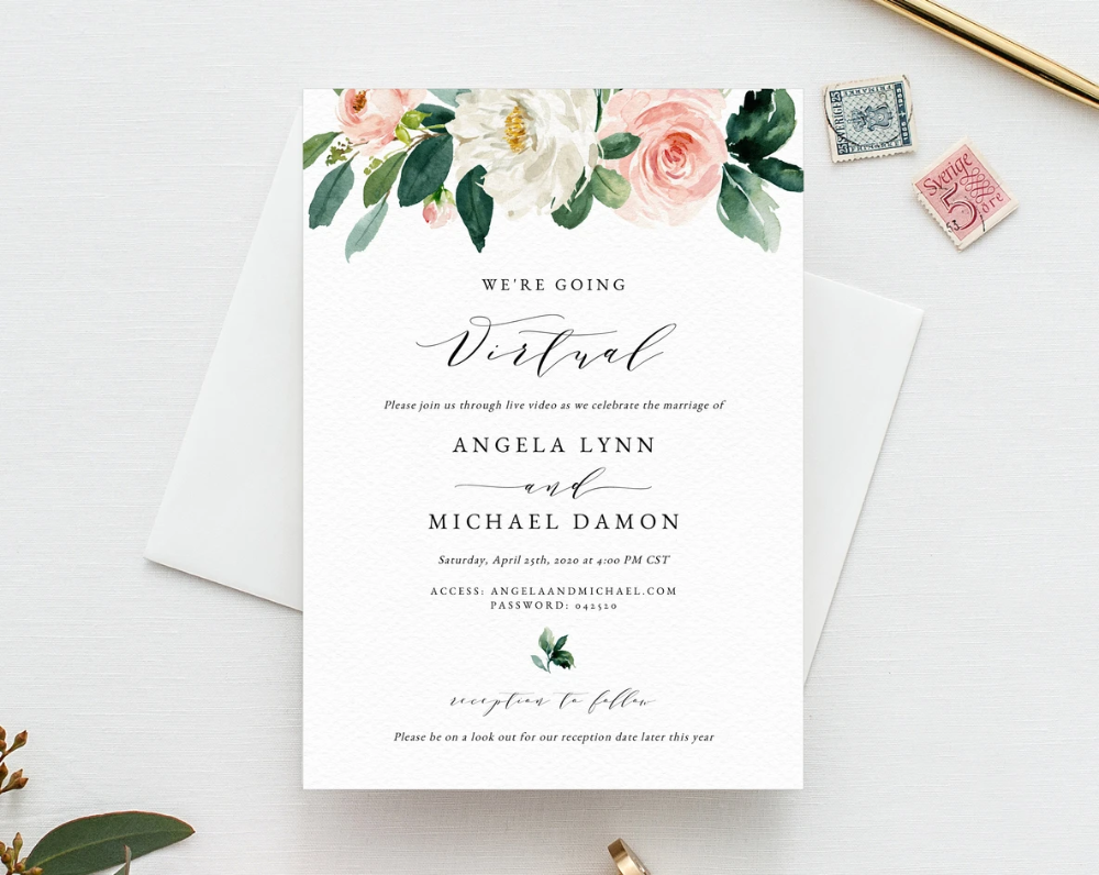 Virtual Wedding Ceremony Invitation Template, Printable Virtual