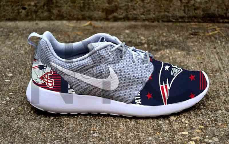 ... nike roshe run grey white new england patriots v5 edition custom men . a002b6f50