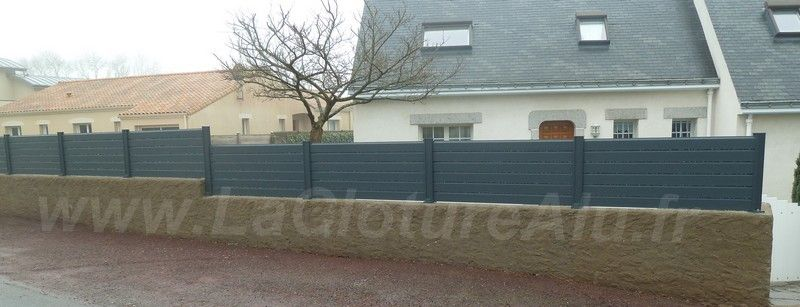 Cloture alu sur muret cloture pinterest cloture alu muret et palissade alu - Cloture sur muret ...