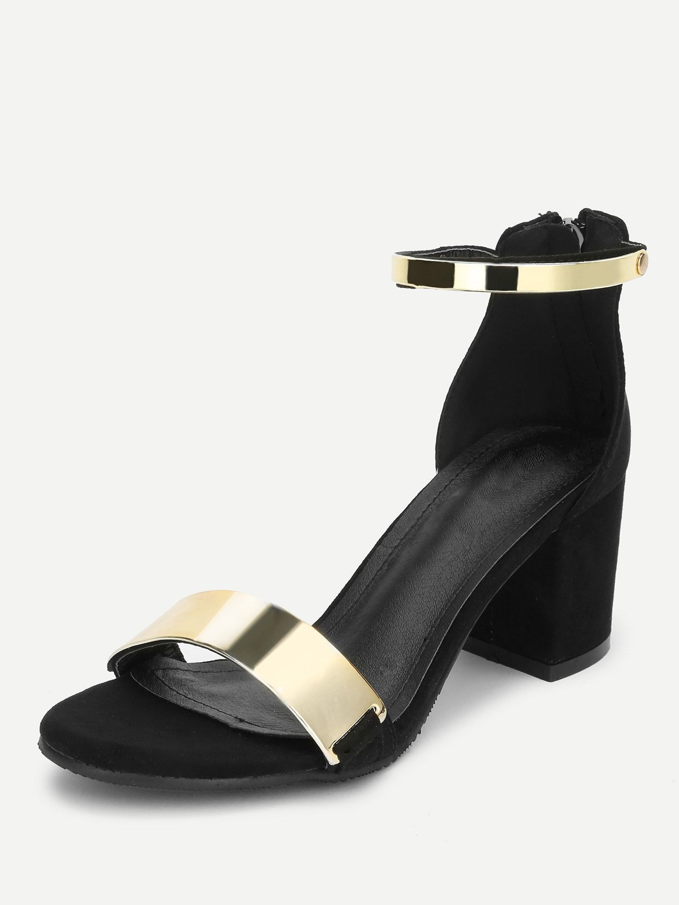 a7f7edbfe541 Party Open Toe Ankle strap Black Mid Heel Chunky Two Part Metallic Chunky  Heeled Sandals