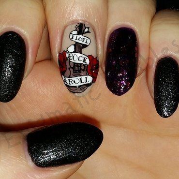 Rock And Roll Guitar Nails Nail Art By Enigmatic Rambles