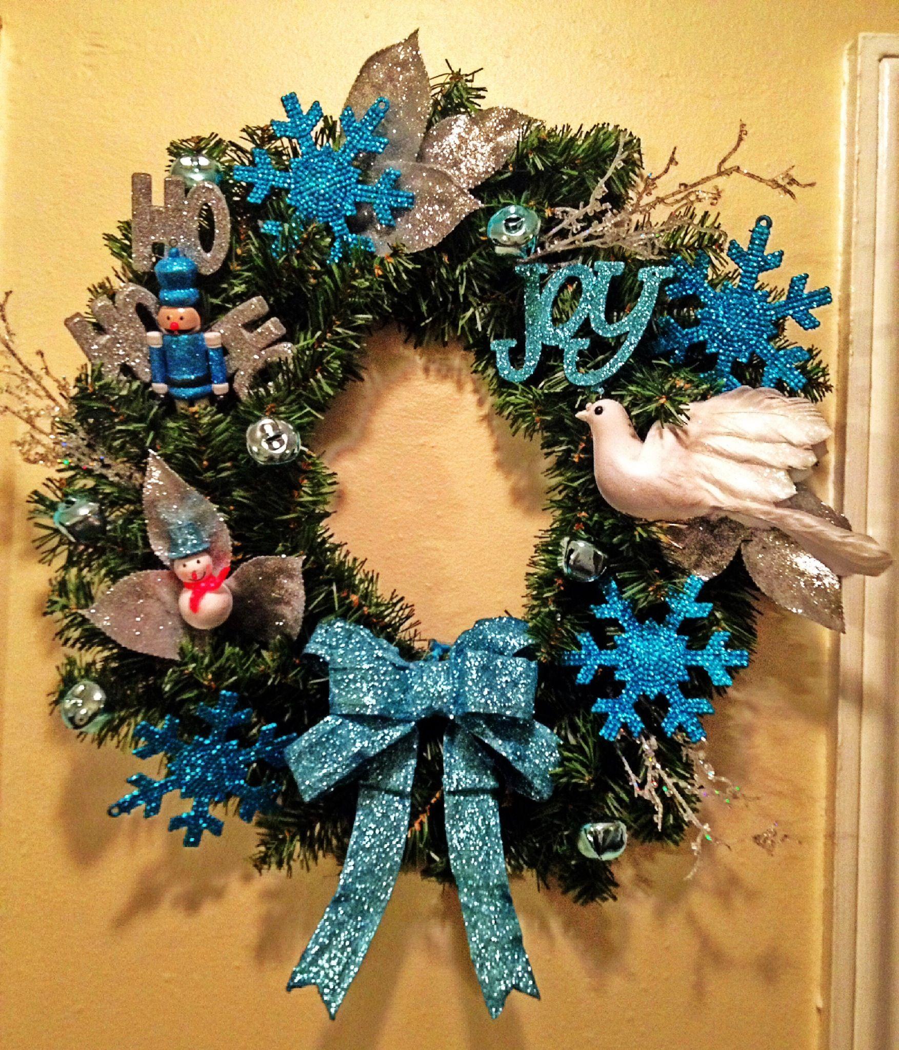 Christmas wreath turquoise diy snowman do it yourself my diy do christmas wreath turquoise diy snowman do it yourself solutioingenieria Gallery