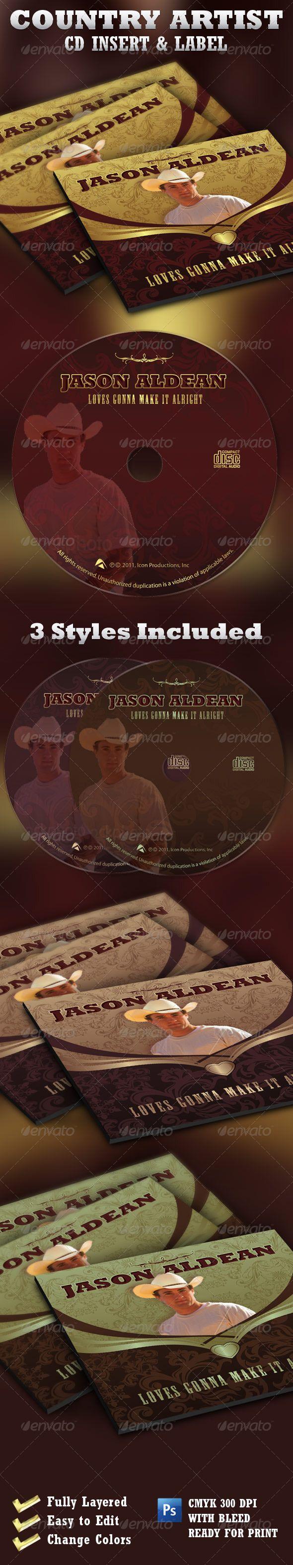 country artist cd label insert template cd dvd artwork print