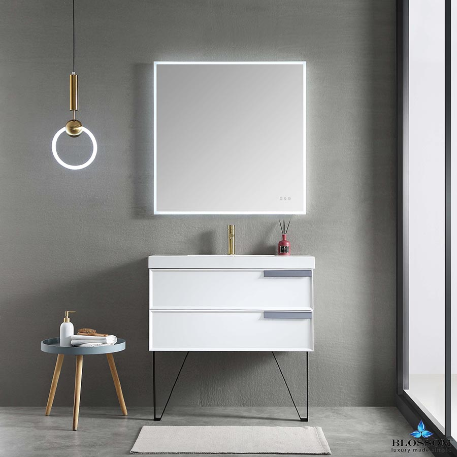 Blossom Sofia 36 Inch Wall Mount Bathroom Vanity Color Matte White Floating Bathroom Vanities Single Bathroom Vanity Led Mirror