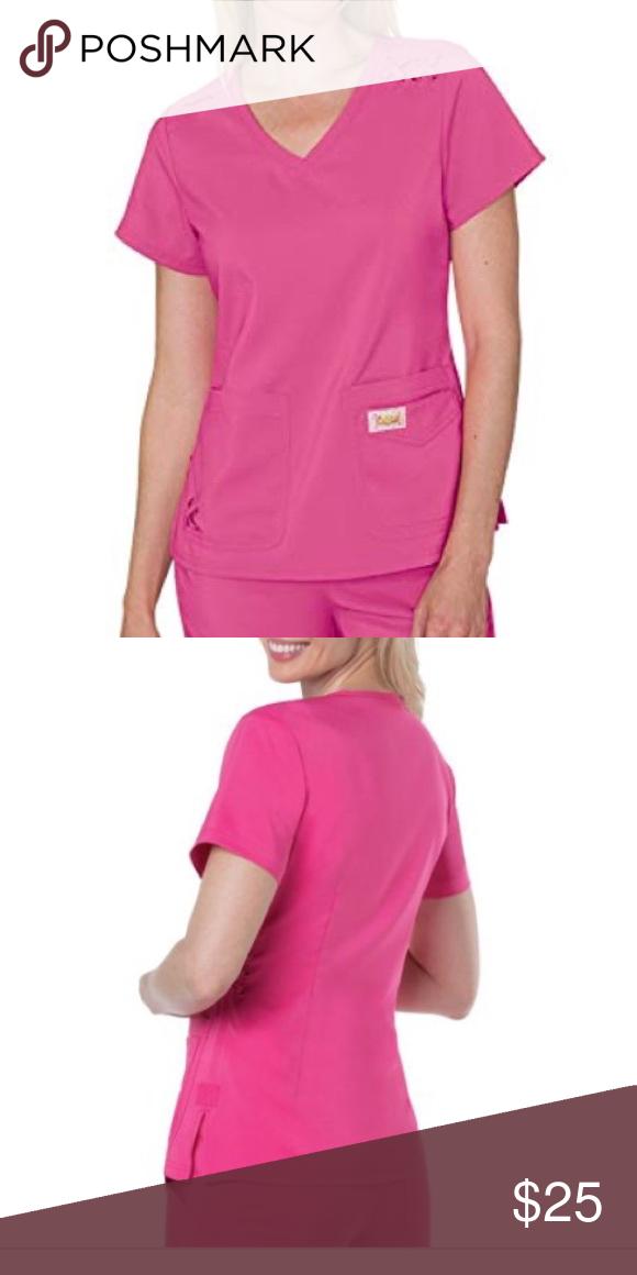 b0f9d696965 XS Koi Tech Scrub Top Flamingo 100% Polyester Modern V-Neck Striking criss  cross
