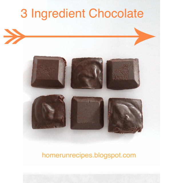 3 ingredient Clean Eating Chocolate  ---  I liked these better then Doves Chocolates.
