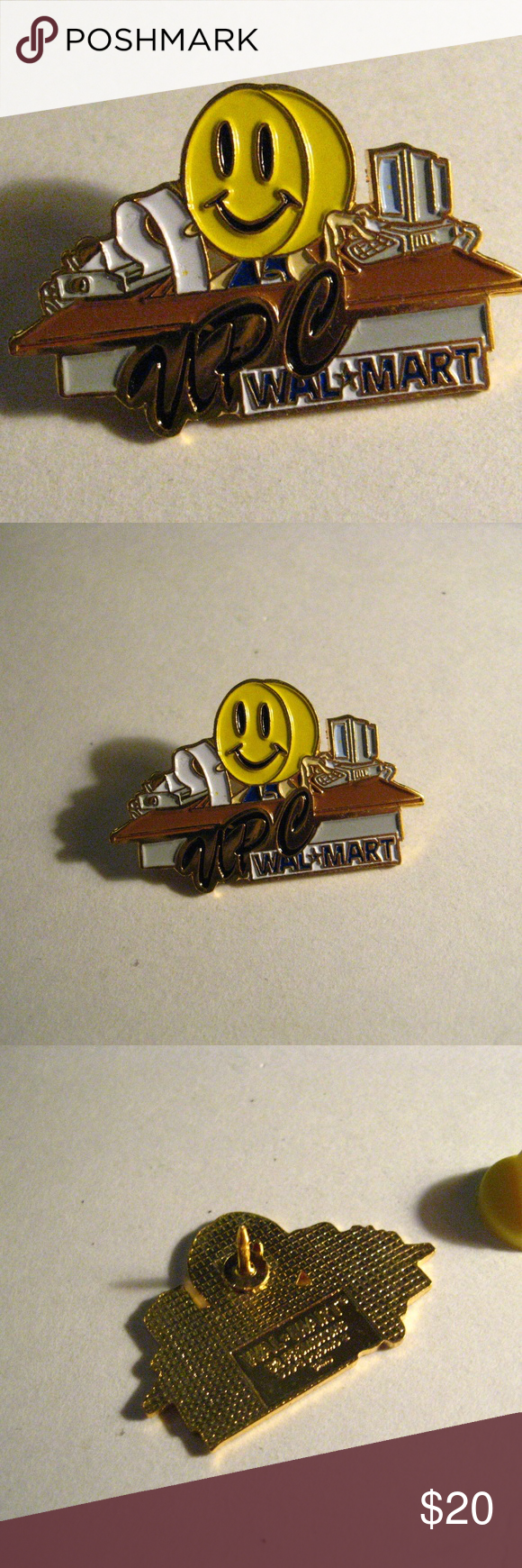 Walmart Store UPC Smiley Face Worker Lapel Pin Gold Tone Metal with
