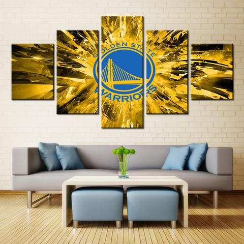 5 Pieces Golden State Warriors Sports Team Logo Framed Canvas Wall ...