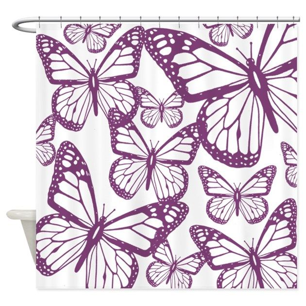 Purple Butterfly Shower Curtain | Butterfly Shower Curtains ...