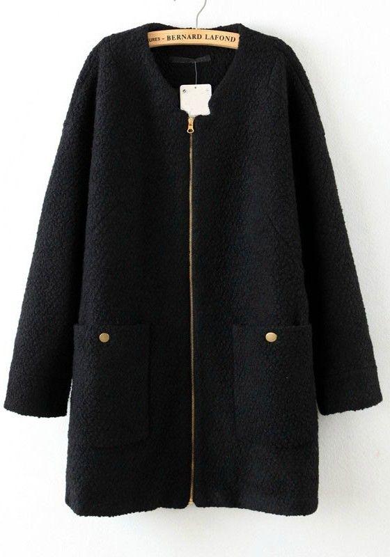Black Wool Zipper Coat   Holidaydreaming   Pinterest   Coat, Wool ... 70688abe95
