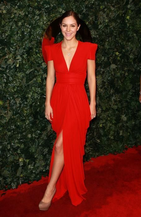a7d44dc8df7 Marc Bouwer red jersey gown worn by Katherine McPhee