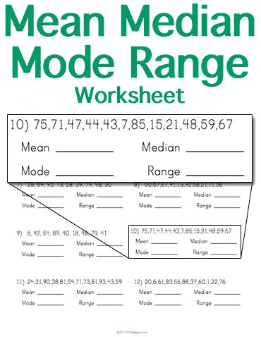 Customizable And Printable Mean Median Mode Range Worksheet Math