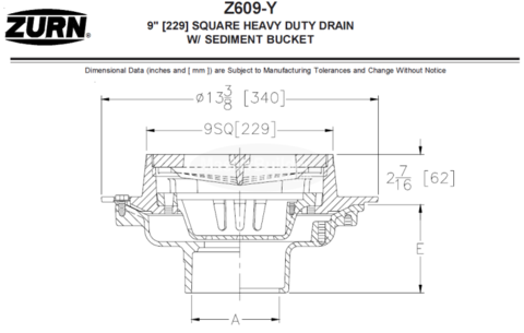 Zurn Z609 9 Square Heavy Duty Drain Heavy Duty 9 Square Square