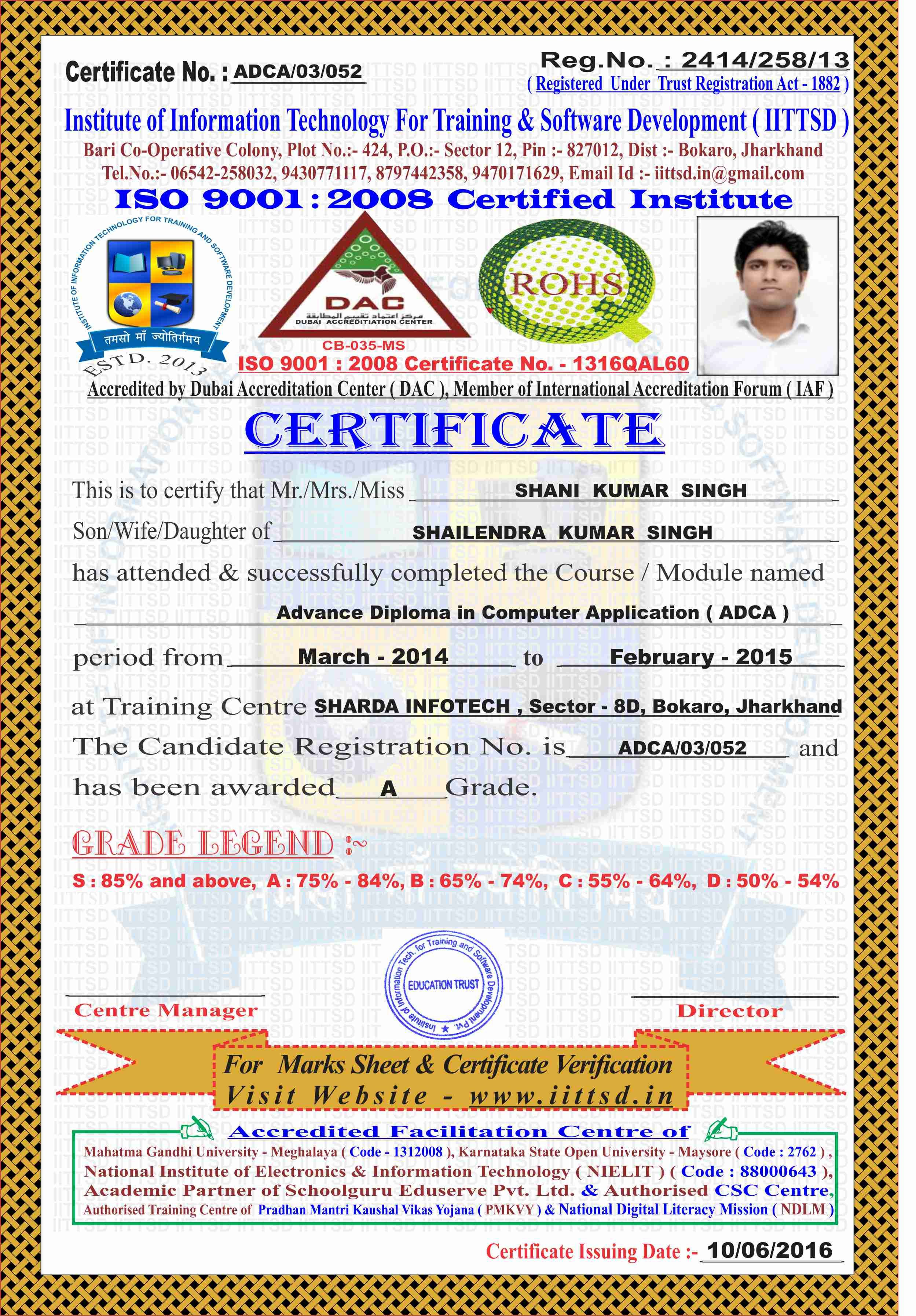Image Result For Adca Certificate With Images Training