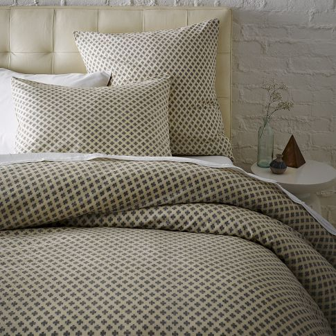 Love this duvet cover and pin tufted head board. Jacquard Leaf Duvet Cover + Shams | west elm