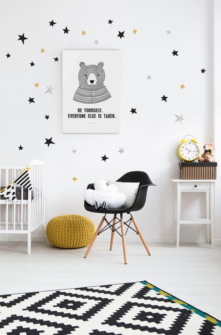Stickers Muraux Chambre Bébé stickers muraux étoiles noires, or, argent pom le bonhomme