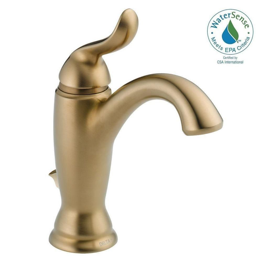 Delta Linden Single Hole Single Handle Bathroom Faucet With Metal Drain  Assembly In Champagne Bronze