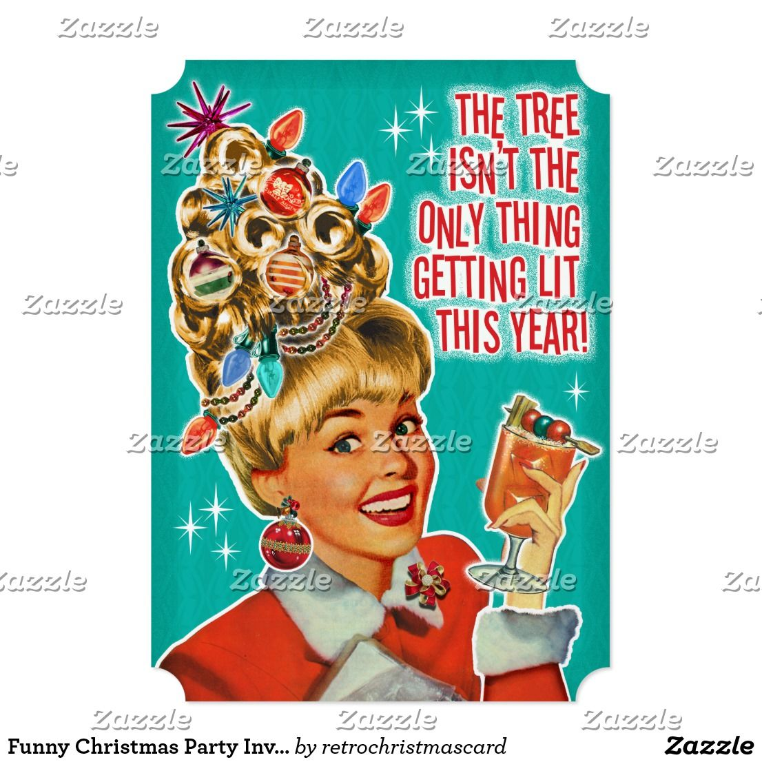 Funny Christmas Party Invitations | Getting Lit | Vintage christmas ...