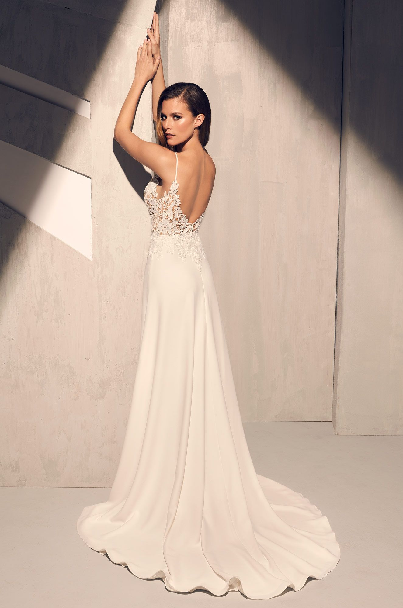 Sheer floral bodice wedding dress style in mikaella