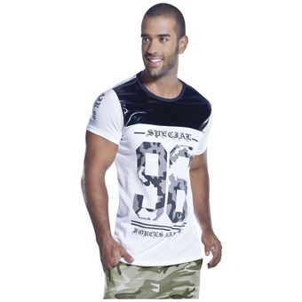 Camiseta Adulto Masculino Marketing Personal 16467 Blanco/Negro
