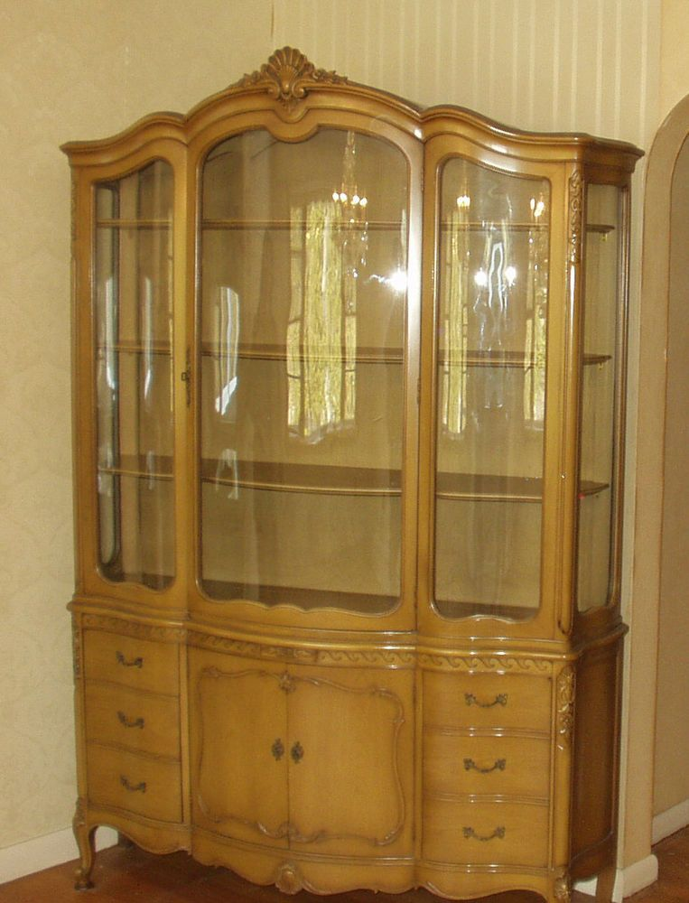 Vtg Drexel French Provincial Breakfront China Hutch Bowed Glass ...
