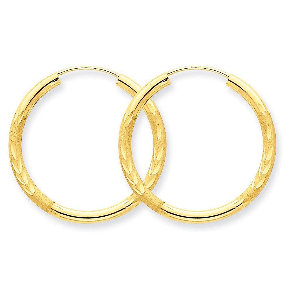 14k 2mm Satin Diamond-cut Endless Hoop Earrings