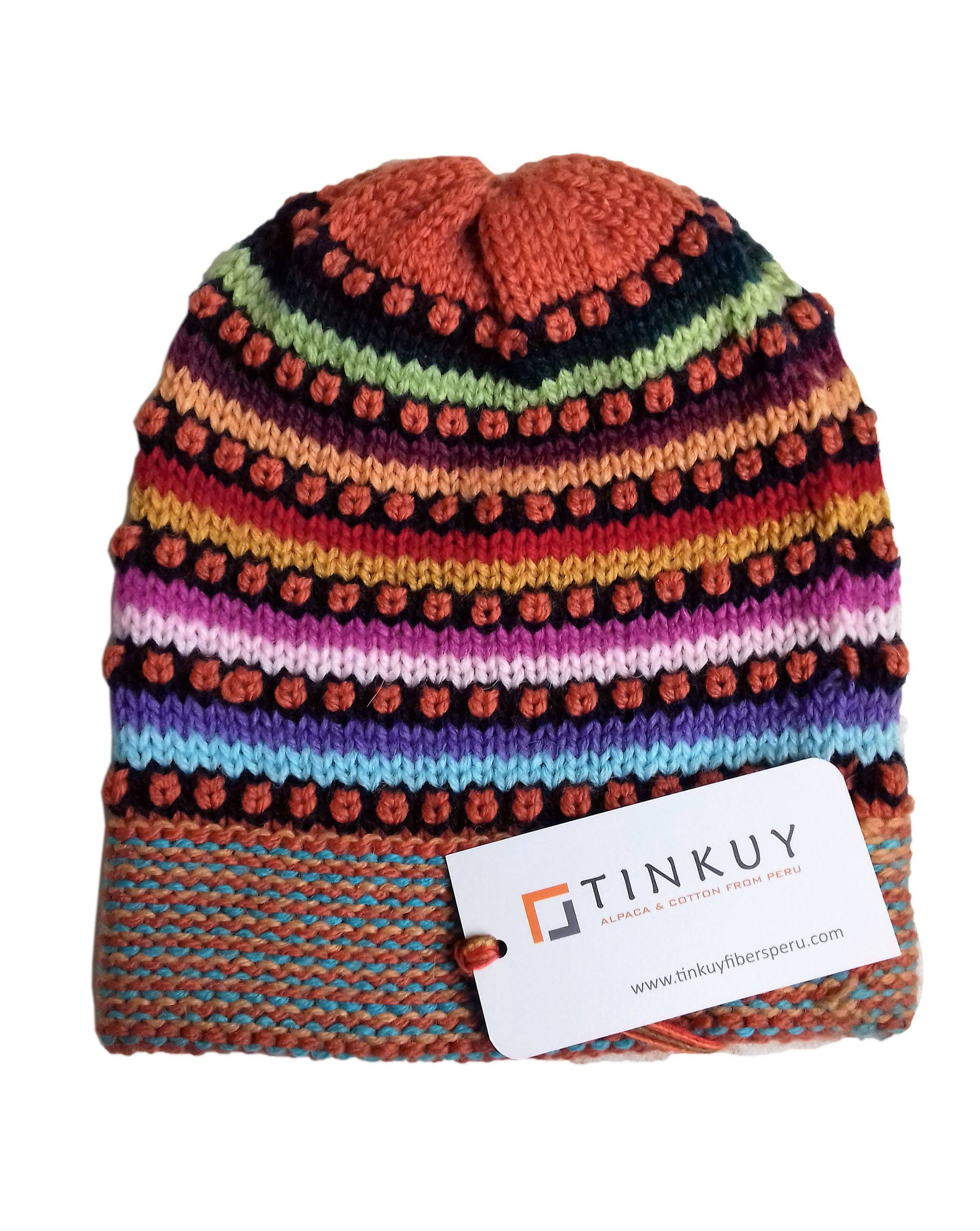55790f0c8bf TINKUY 100% Alpaca Peru Womens Beanie Winter Knit Hat Cap Geometric  Multicolor by TINKUY on Etsy