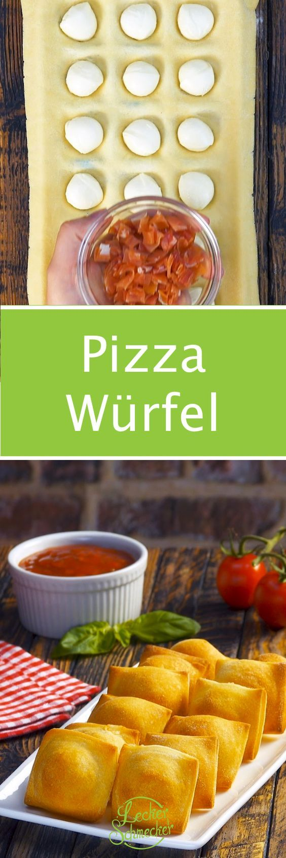 Drücke Pizzateig in Eiswürfelform und backe bei 180°C. Wow! #pizzateig