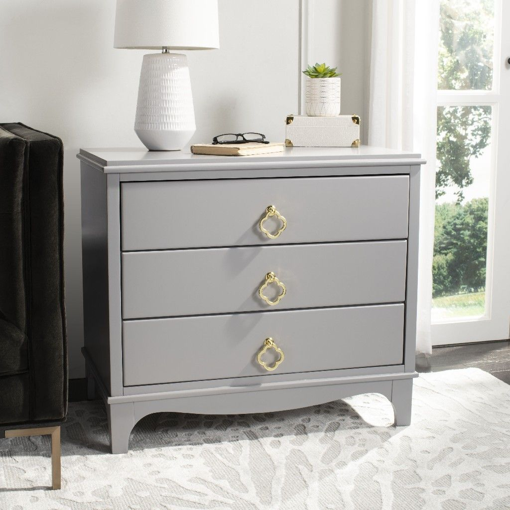 Best Hannon 3 Drawer Contemporary Nightstand In Grey Safavieh 640 x 480