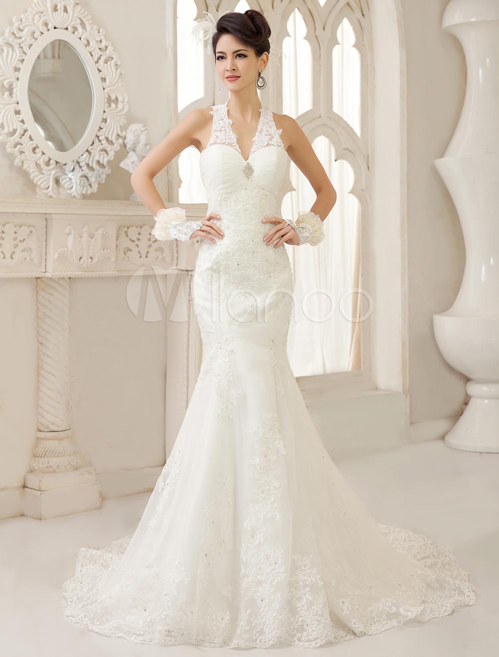 74299c48b Vestido de novia de tul con cuello en V de cola larga en 2019 ...