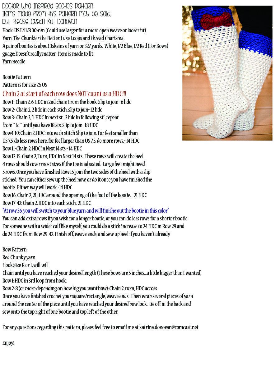 Pattern for the now famous Doctor Who inspired Knee high booties