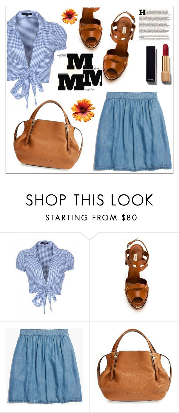 """""""Denim Skirt"""" by christinacastro830 ❤ liked on Polyvore featuring QED London, Casadei, Madewell, Burberry, Maison Margiela and Chanel"""