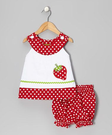 Take a look at this White Strawberry Yoke Top & Red Bloomers - Infant by Stellybelly on #zulily today!
