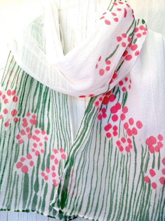 Hand Painted Silk Scarf Pink Floral Scarf by SilkScarvesTakuyo