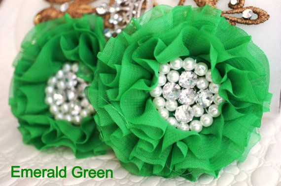 Set of 2 Emerald Green Fabric Flowers  Green by LulisSupplyShop