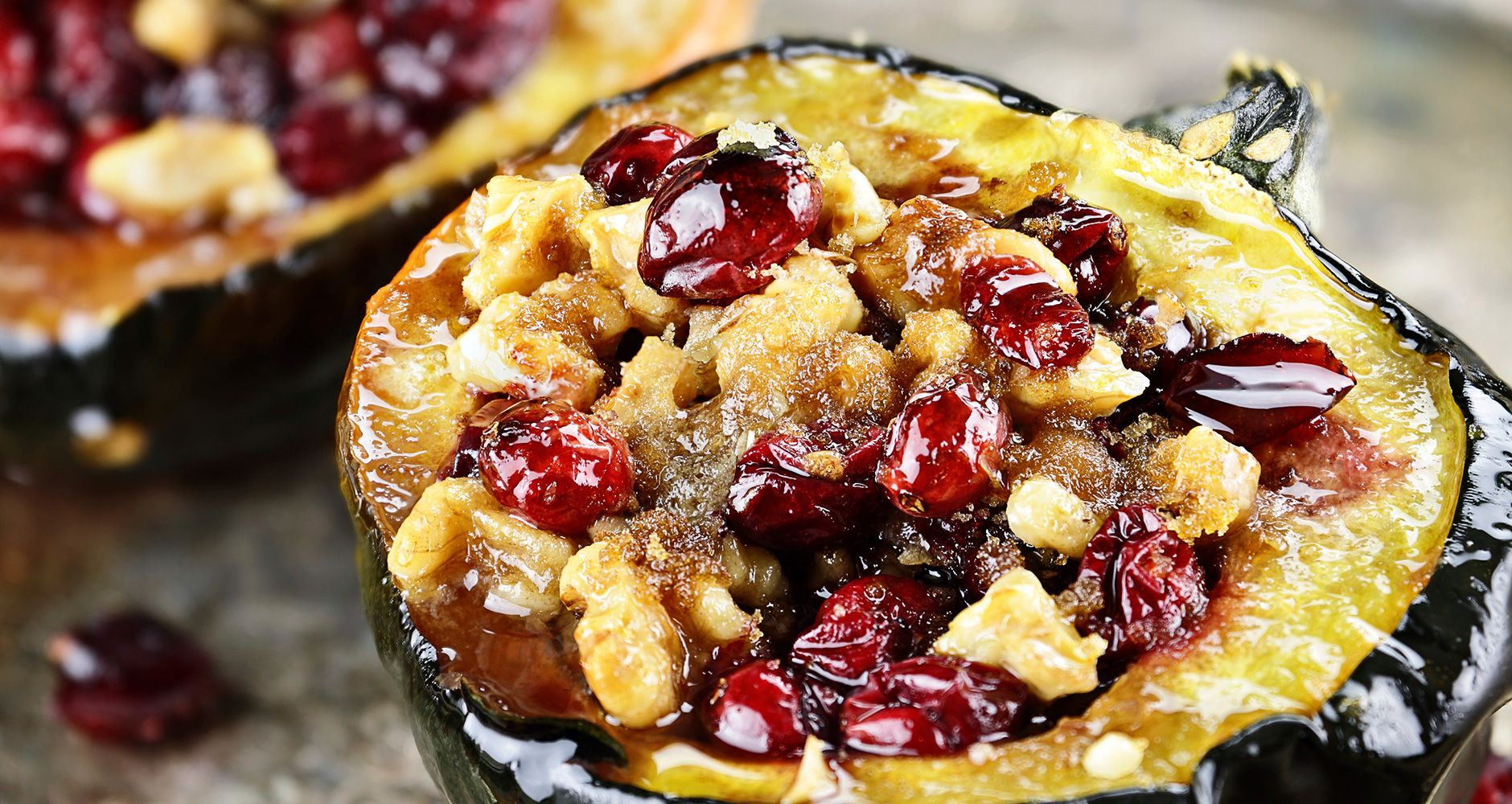 Baked Stuffed Acorn Squash With Cranberry Stuffing Recipe Food