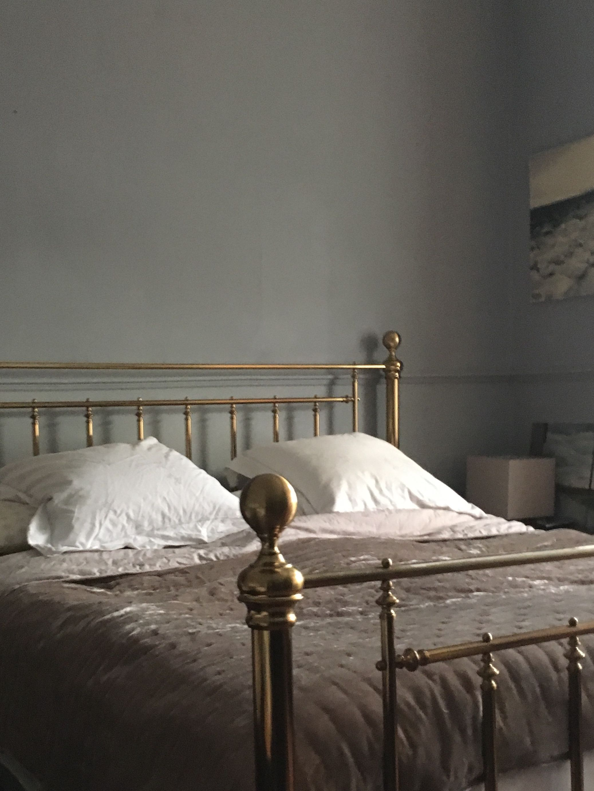 Moody Bedroom In Dulux Night Jewel 3 Lovely With Vintage Brass Bed Brass Bed Sanctuary Bedroom Bedroom Furniture