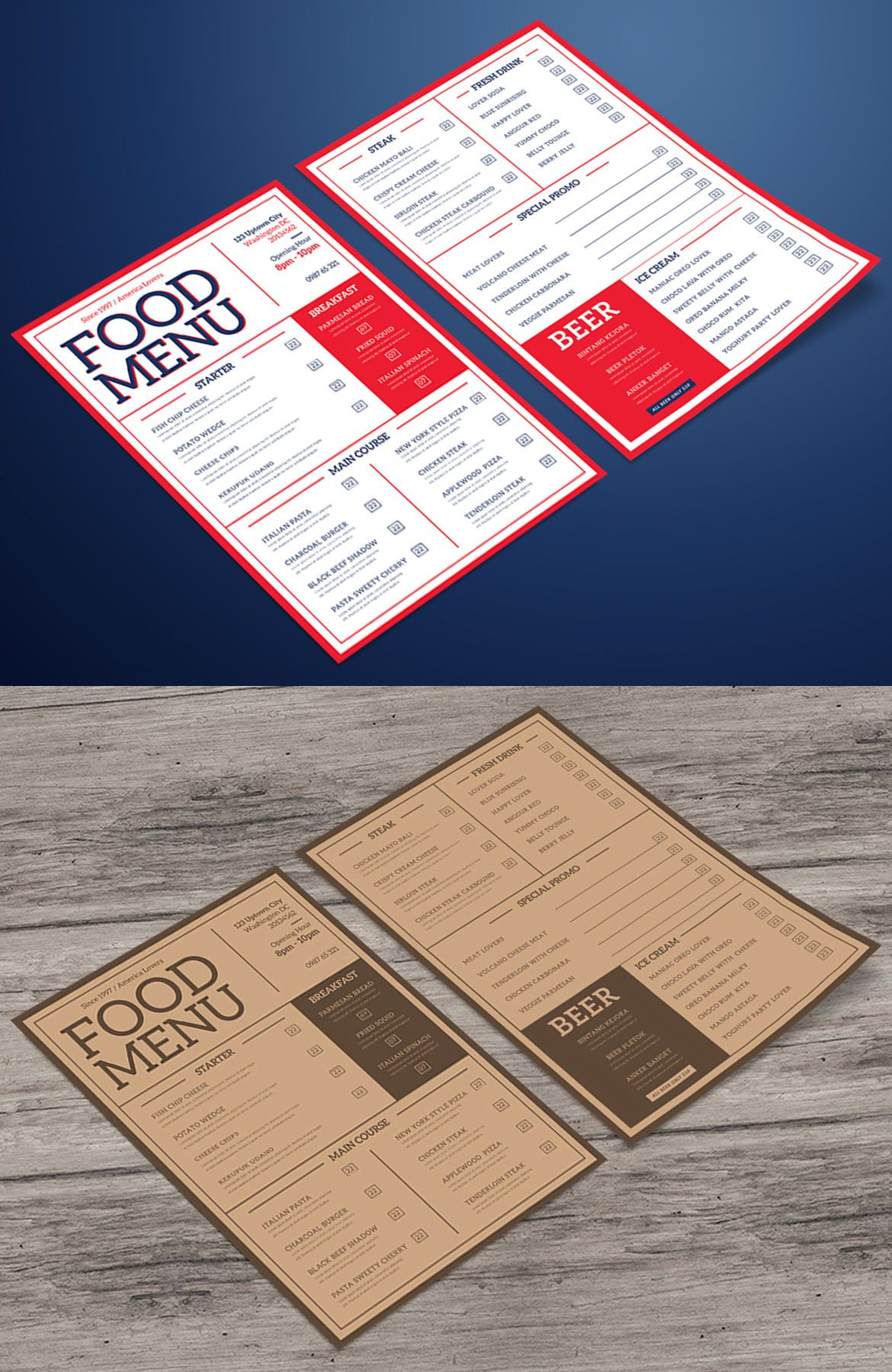 aesthetic food menu template psd best food menu templates