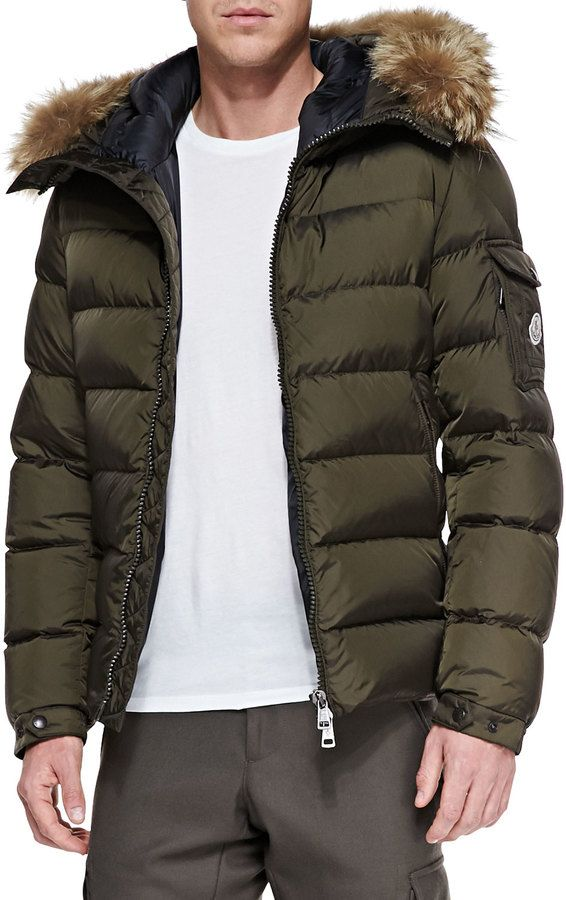 Moncler Byron Fur-Trim Hood Puffer Cardigan, Brown on shopstyle.com