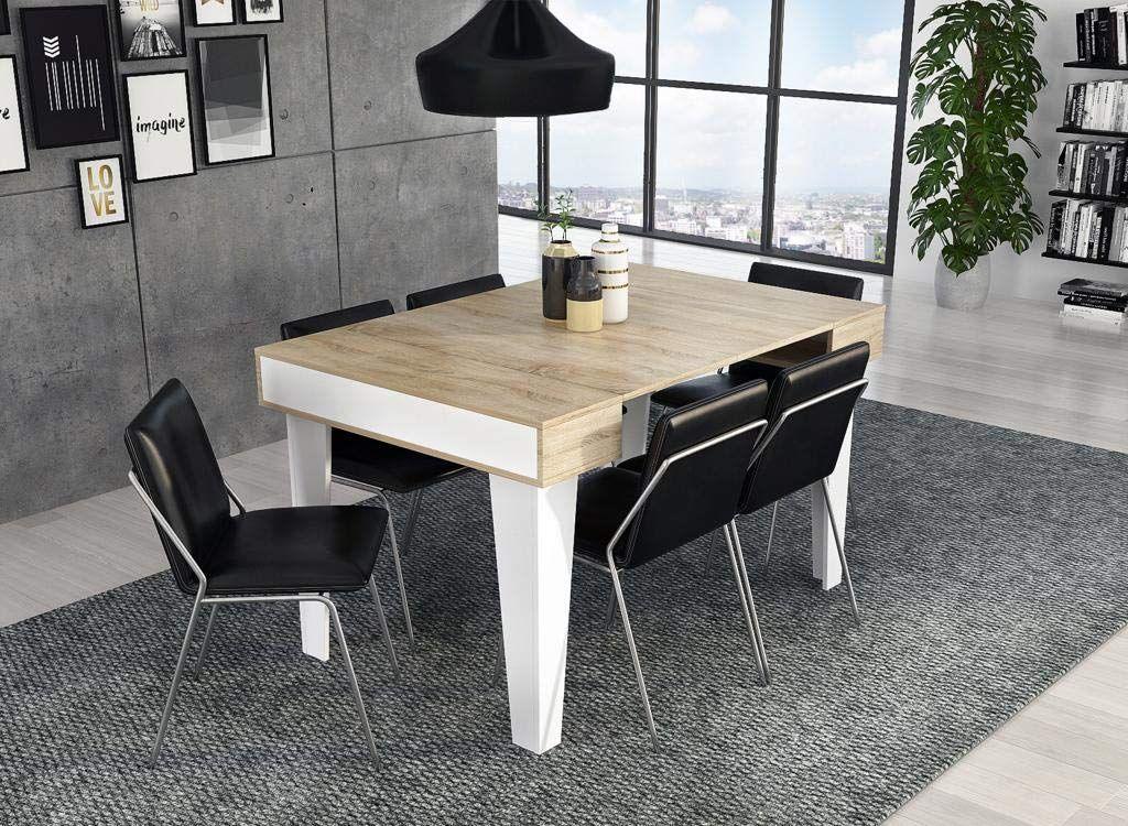 Home Innovation Table Console Extensible jusqu/à 140 cm Couleur ch/êne Clair bross/é pour Salle /à Manger et s/éjour jusqu/´/à 6 Personnes. rectangulaire avec rallonges