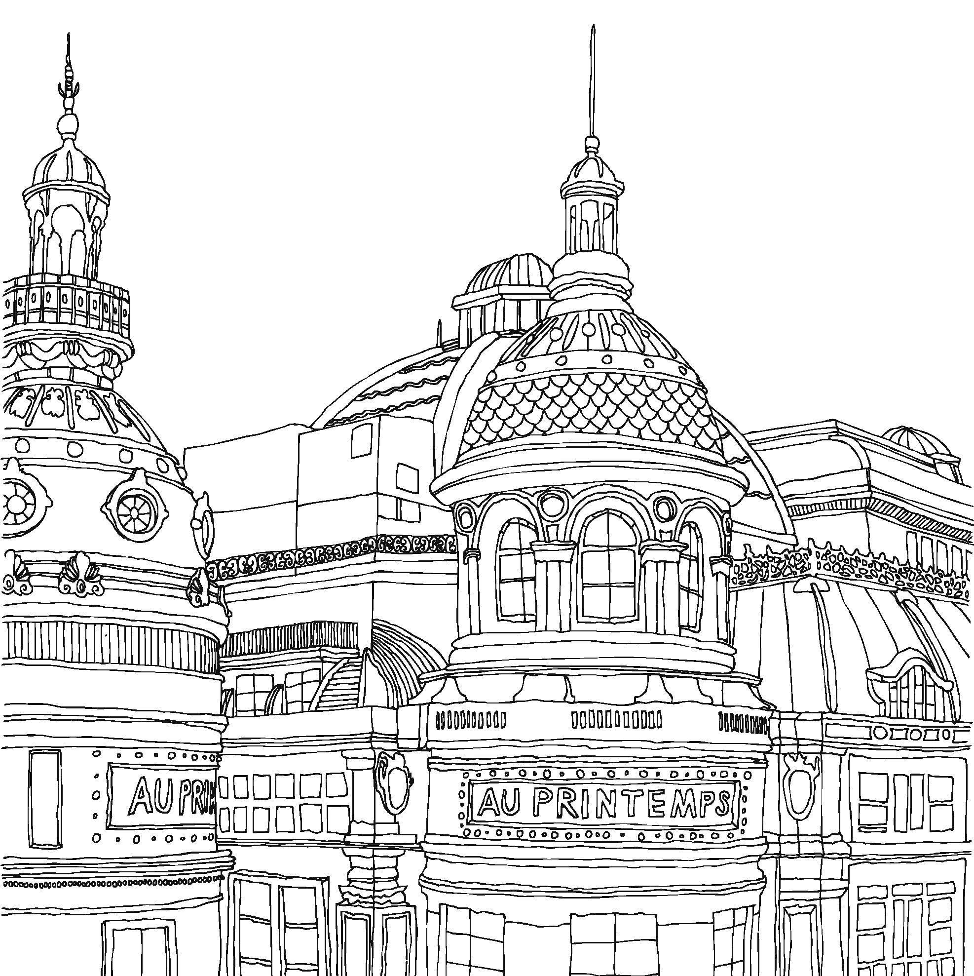 architecture coloring book pages | Au Printemps European architecture adult coloring page ...