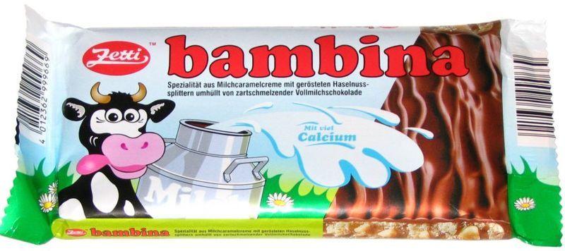 Bambina ist eine Vollmichschokolade mit karamellisierter Milchcreme. Wurde der damals westdeutschen Kinderschokolade nachempfunden.
