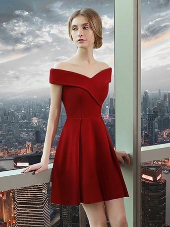 196ad312642 2017 Simple Homecoming Dress A-line Off-the-shoulder Burgundy Satin Short  Prom Dress SKA087