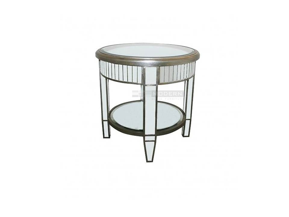 Genial Pika Round Mirrored End Table