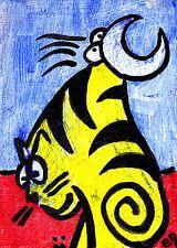 Cat Bird e9Art ACEO Fantasy Abstract Neo...