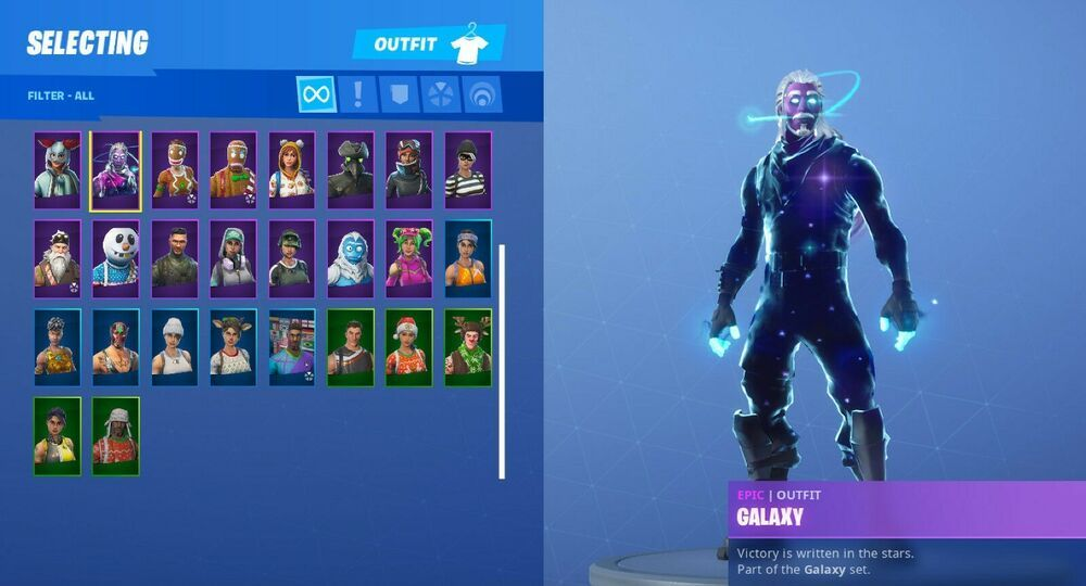Rare Galaxy Skin Plus Galactic Disk Fortnite Account All Christmas